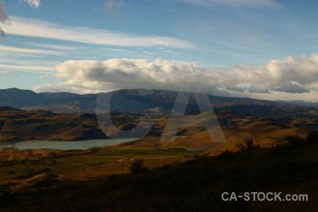Chile landscape lake water cloud.