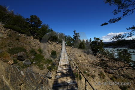 Chile torres del paine patagonia day 3 suspension bridge.