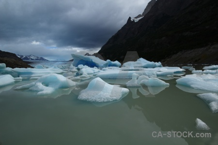 Chile water lago grey ice glacier.