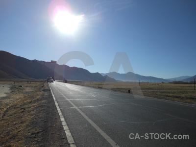 China road plateau sun altitude.