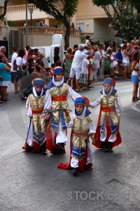 Christian fiesta javea person costume.