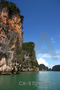 Cliff sky tree water thailand.