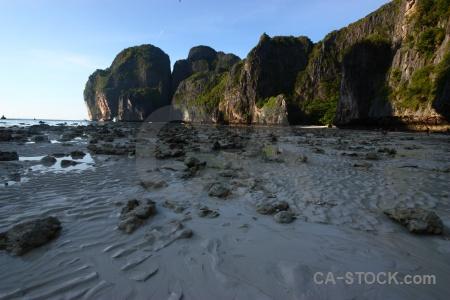 Cliff southeast asia beach ko phi leh maya bay.