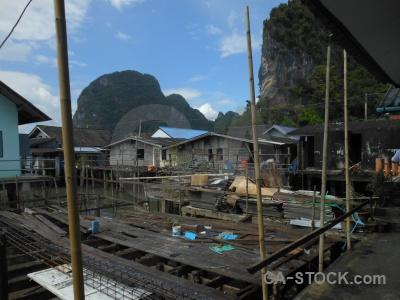 Cliff southeast asia thailand phang nga bay stilts.