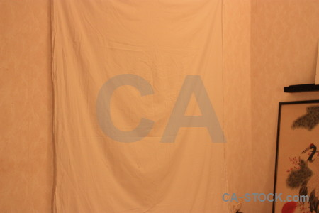 Cloth object orange curtain.