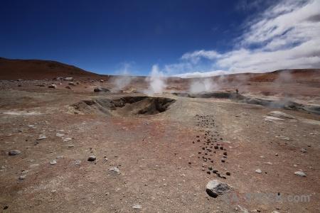 Cloud andes landscape steam geyser.