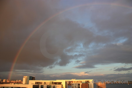 Cloud gray sky rainbow.