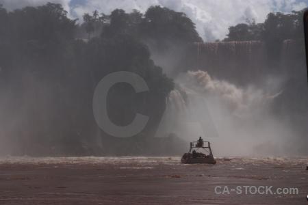 Cloud iguazu river argentina falls boat.