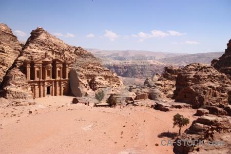 Cloud landscape jordan ancient monastery.