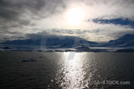 Cloud mountain sea water south pole.