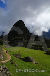Cloud ruin grass south america machu picchu.