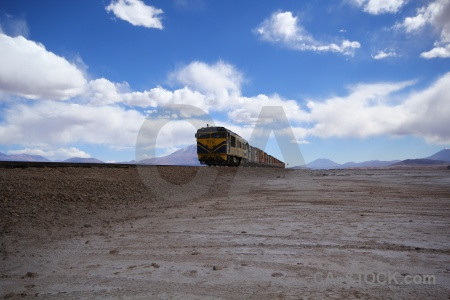 Cloud salar de chiguana mountain andes railway.