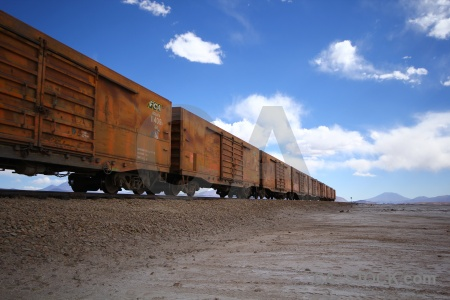 Cloud salt flat train track railway bolivia.