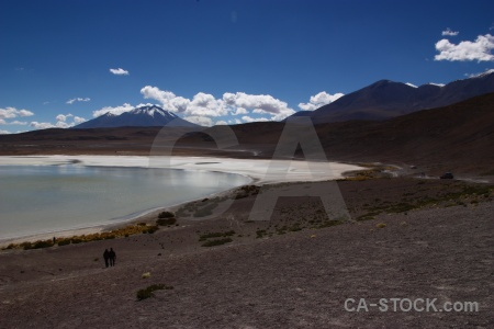 Cloud snowcap salt lake andes mountain.