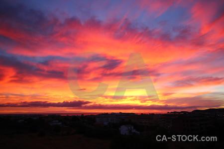 Cloud yellow purple sunrise red.