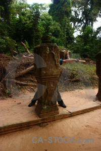 Column angkor person buddhism southeast asia.