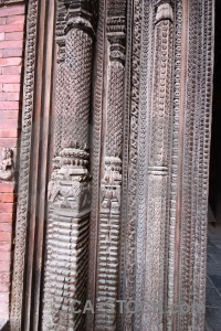 Column durbar square hanuman dhoka unesco wood.