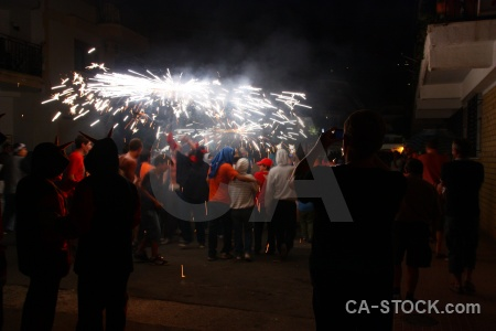 Correfocs black spain firework fiesta.