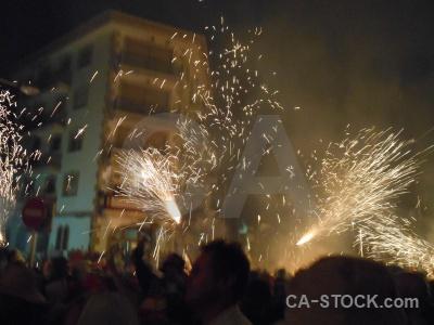 Correfocs building fiesta firework javea.