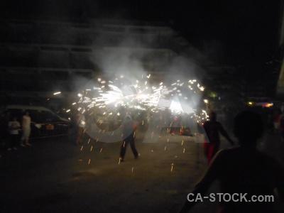 Correfocs firework building javea fiesta.