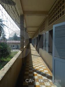 Corridor phnom penh prison chequered southeast asia.