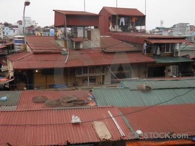 Corrugated iron hanoi vietnam building southeast asia.
