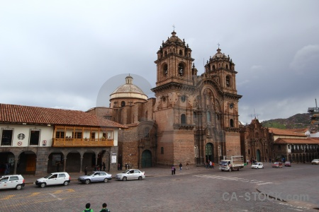 Cusco square building south america sky.