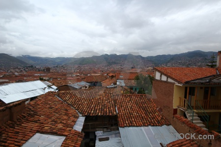 Cuzco mountain cloud unesco roof.