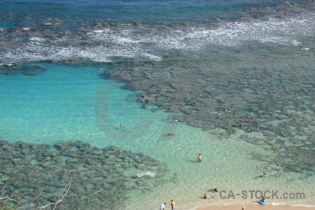 Cyan blue sea coast water.