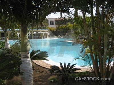 Cyan pool water.