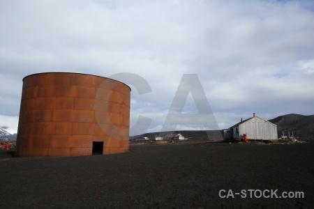 Cylinder volcano building antarctica sand.
