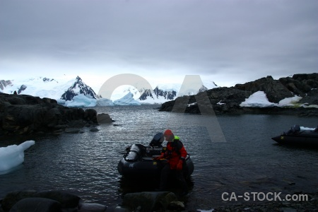 Day 6 person antarctic peninsula iceberg mountain.