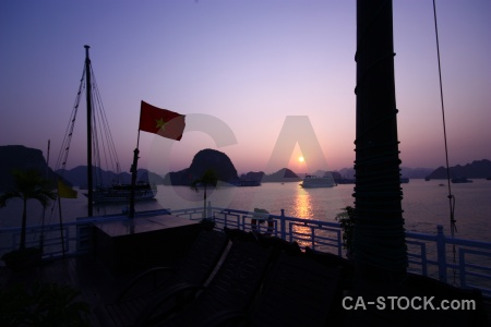 Deck sunrise southeast asia vinh ha long sun.