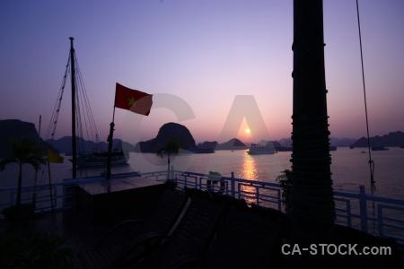 Deck sunrise southeast asia vinh ha long sun.
