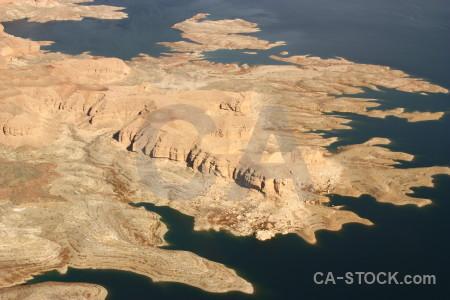 Desert mountain lake water landscape.
