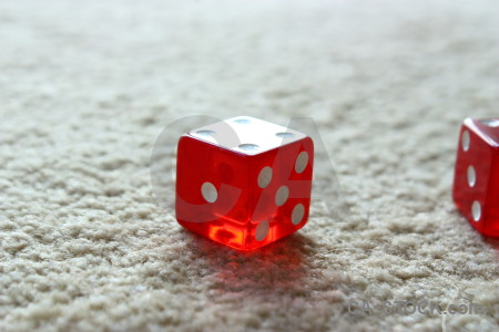 Dice poker object white red.