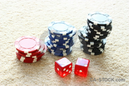 Dice red white object chip.
