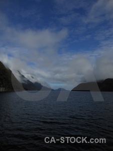 Doubtful sound mountain fiord cloud sky.