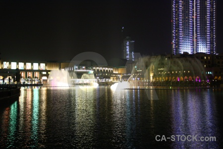Dubai building middle east fountain uae.