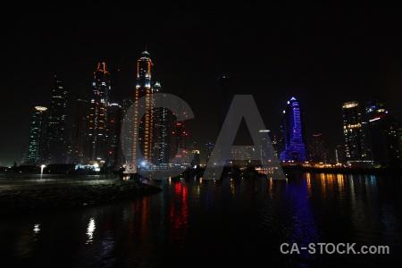 Dubai marina canal western asia reflection.
