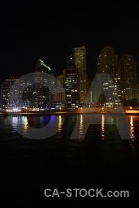Dubai reflection light marina skyscraper.