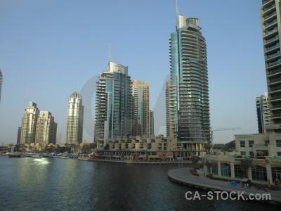Dubai water sky marina skyscraper.