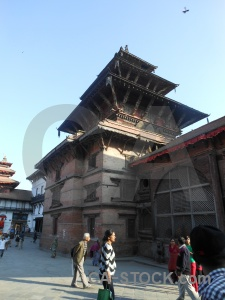 Durbar square pagoda person sky building.