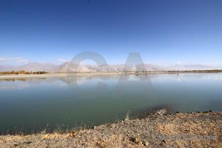 East asia altitude plateau dry river.