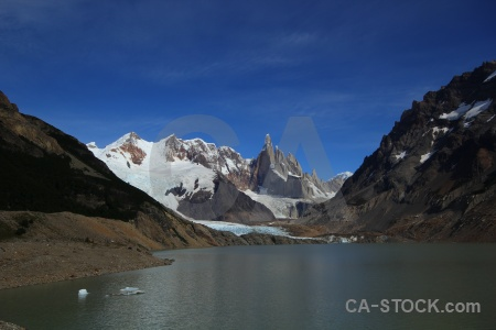 El chalten ice terminus rock water.