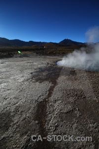 El tatio geyser sky landscape south america.