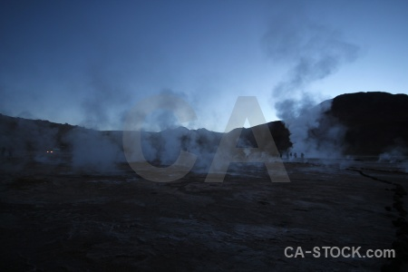 El tatio geyser sky south america steam.