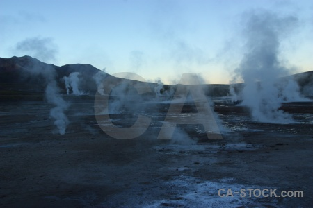 El tatio mountain geyser south america steam.