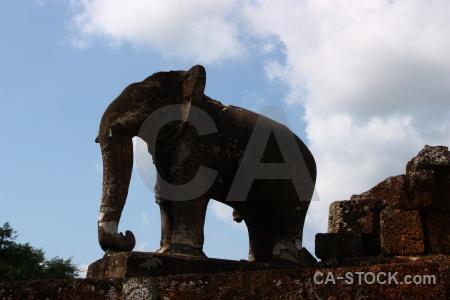 Elephant temple cambodia ruin sky.