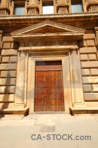 Entrance door orange brown roman.